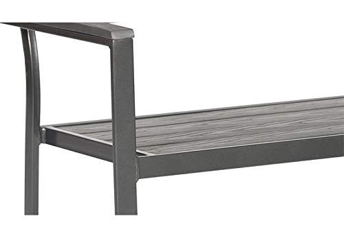 Lifestyle For Home Sitzbank mit Armlehnen Gartenbank Aluminium und Polywood anthrazit dunkelgrau 108 cm