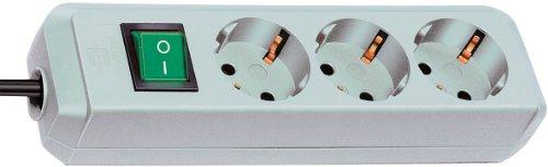 Brennenstuhl Eco-Line, Steckdosenleiste 3-fach (Steckerleiste mit erhöhtem Berührungsschutz, Schalter und 1,5m Kabel) lichtgrau