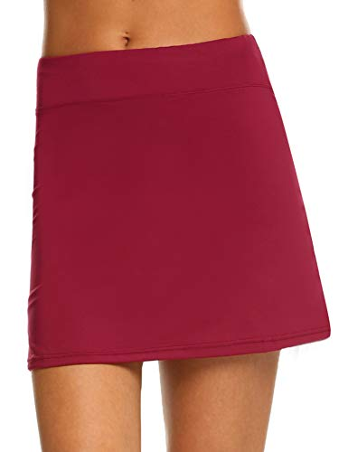 IN'VOLAND Women's Tennis Skorts Running Skirt with Shorts Inner for Golf Workout Casual Gym Red