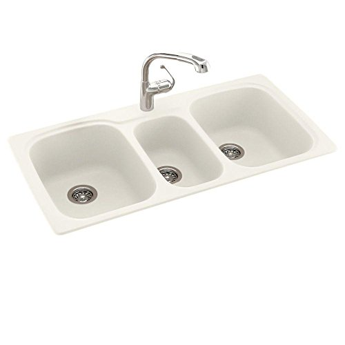 Swanstone KS04422TB.018 Solid Surface 1-Hole Drop in Triple-Bowl Kitchen Sink, 44-in L X 22-in H X 9-in H, Bisque