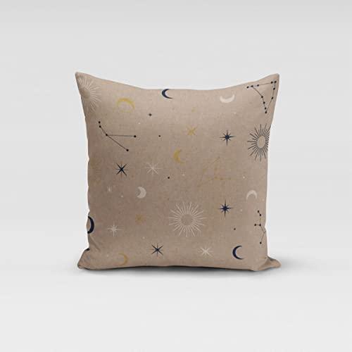 SCHÖNER LEBEN. Federa per cuscino in lino, astronomia, con motivo a stelle, luna, blu e oro, diverse misure, dimensioni: 60 x 60 cm (altezza x larghezza)