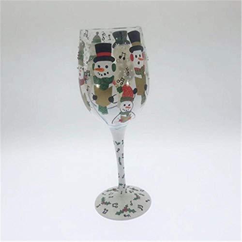 niawmwdt Decoración Navideña Copa De Vino Copa Pintada A Mano Artificial Cristal Copa De Vino Tinto Decoración De Copa Regalo De Navidad22.4Cm