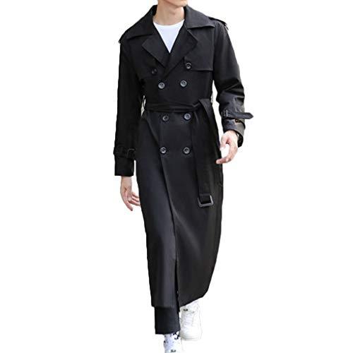 MWbetsy Graben-Mantel der Männer Lange Jacke Herbst British Style Geschäftsreiten Land Kleidung Zweireiher Mantel Large Size Langarm-Overknee-Oberbekleidung,Schwarz,7XL