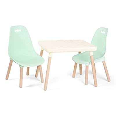 B. spaces by Battat – Kids Furniture Set – 1 Craft Table & 2 Kids Chairs with Natural Wooden Legs (Ivory and Mint) from Branford LTD