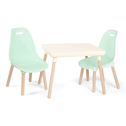 B. spaces by Battat Kids Table & Chairs Juego niños, 1 Mesa de Manualidades y 2 sillas Infantiles con Patas de Madera Natural (Marfil y Menta), Blanco