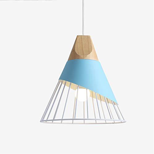 Xindaxin Industrial - Pantalla de lámpara de techo con lámpara de techo, jaula de hierro, para decoración de dormitorio, salón, pasillo, escalera, color azul
