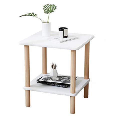 COUYY Mesa de Centro de Estilo pequeño de Estilo nórdico para sofá pequeña Mesa Cuadrada de mesita de Noche Moderna Minimalista,Blanco,38 * 38 * 53cm