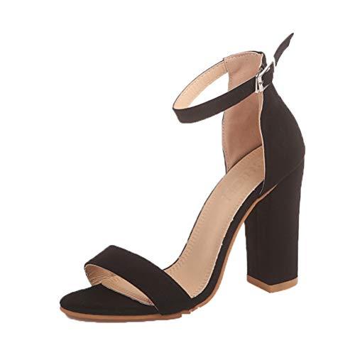 Sandalias de tacón Cuadrado de Mujer de Alta Casual de Verano 9 cm con Punta Abierta Hebilla de Las Mujeres Zapatos de la Correa del Tobillo
