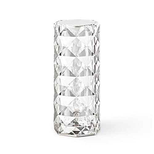 BTOSEP Lámpara de Mesa USB de Cristal,luz de Noche LED Creativa con Forma de Rosa,lámpara de Noche de Cristal de Diamante en Forma de Columna,lámpara de Noche,atmósfera Dormitorio,Sala de Estar