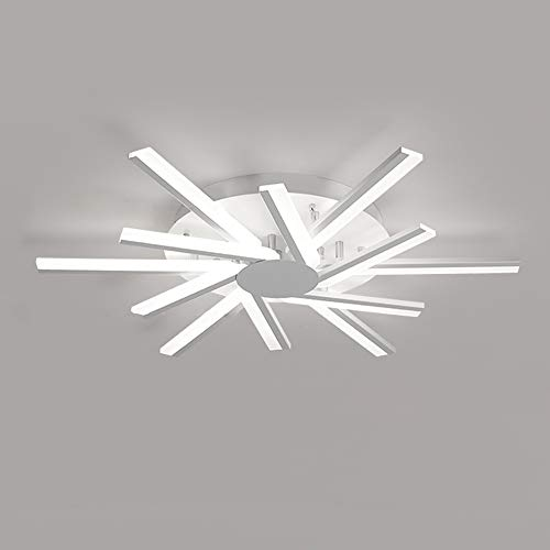 Lámpara de Techo LED Dormitorio Ligero de Dormitorio Regulable con Mando Distancia Luz de Techo Modern Design Line Iluminación de Techo Estudio Sala Estar Metal Pantalla AcríLica 12 Luces 54W Ø80cm