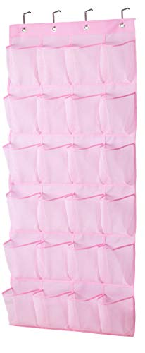 MISSLO Kids Shoe Organizer Door Hanging Baby Closet Storage over the Rack Breathable 24 Large Mesh Pockets for Toddler Girl, Pink