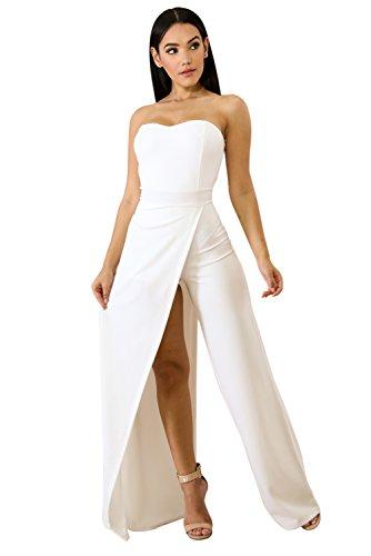 Acelitt Womens Off Shoulder Sleeveless Asymmetric Split Leg Strapless Jumpsuit Rompers White XL