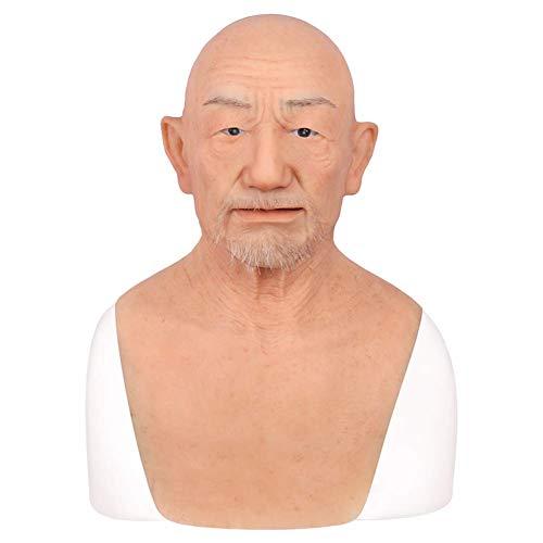 SXFYHXY Silicona Blanda Old Man Mask Cosplay de Halloween, Accesorios de películas, Camuflaje, Disfraces, travestis, transexuales y Amantes del Maquillaje (con Barba)