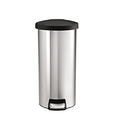 simplehuman Round Step Trash Can, Stainless Steel, Plastic Lid, 30 L/8 Gal