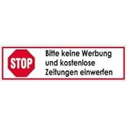 PVC Aufkleber STOP Bitte keine Werbung und kostenlose Zeitungen einwerfen