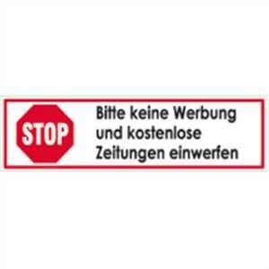 Aufkleber Stop Bitte keine Werbung und kostenl. Zeitungen einwerfen Folie selbstklebend 2x7cm (keine Reklame) praxisbewährt, wetterfest