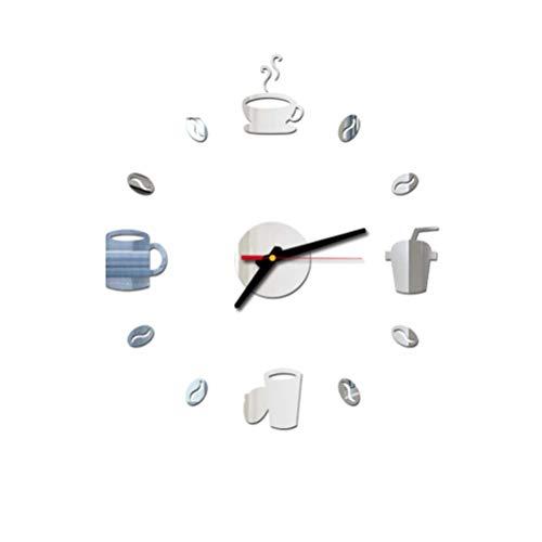 VOSAREA Sin Marco DIY Reloj de Pared Adhesivo Reloj de Pared Silencioso Acrílico 3D (Plata)