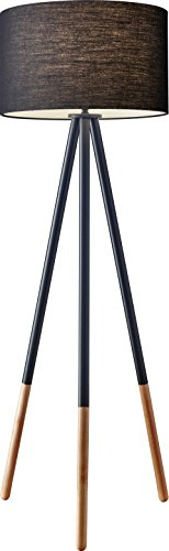 Adesso 6285-01 Louise Floor Lamp, Black, Smart Outlet Compatible, 60.25'