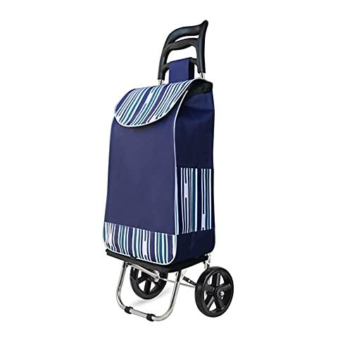 shopping cart Leggero Carrello Portaspesa con 2 Ruote, Pieghevole Carrello della Spesa Impermeabile Trolley Camion A Mano Montascale Carrello Porta Valigie per Anziano Allaperto Casa (30L)