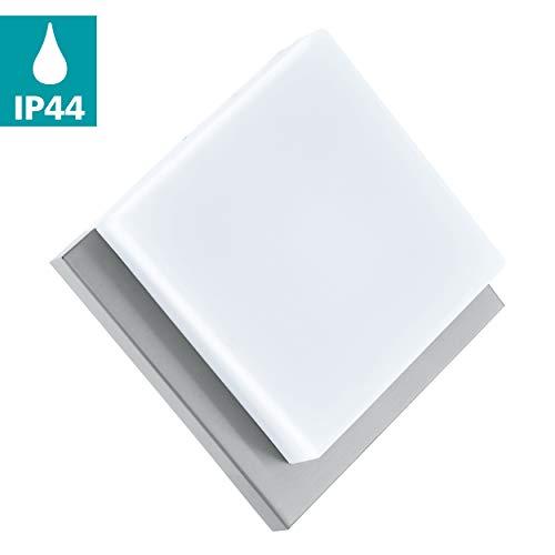 EGLO LED Außen-Wandlampe Infesto 1, 1 flammige Außenleuchte, Wandleuchte aus Edelstahl und Kunststoff, Farbe: Silber, weiß, IP44