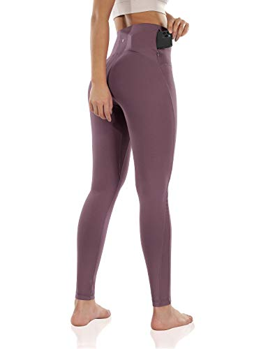 ODODOS Women's High Waisted Tummy Control Mesh Workout Pants, Full-Length Yoga Leggings with Back Pockets, Lavender, Small