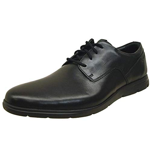 Clarks Vennor Walk, Zapatos de Cordones Derby Hombre, Negro (Black Leather), 46 EU