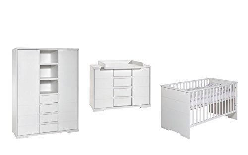 Schardt 11 864 52 02 Kinderzimmer 3-teilig Maxx White bestehend aus Kombi-Kinderbett, Wickelkommode und 2-türigem Kleiderschrank