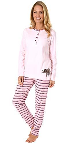 NORMANN WÄSCHEFABRIK Damen Pyjama Kuschelinterlock Hose gestreift - süsses Faultier Tiermotiv - auch in Übergrössen, Farbe:rosa, Größe2:52/54