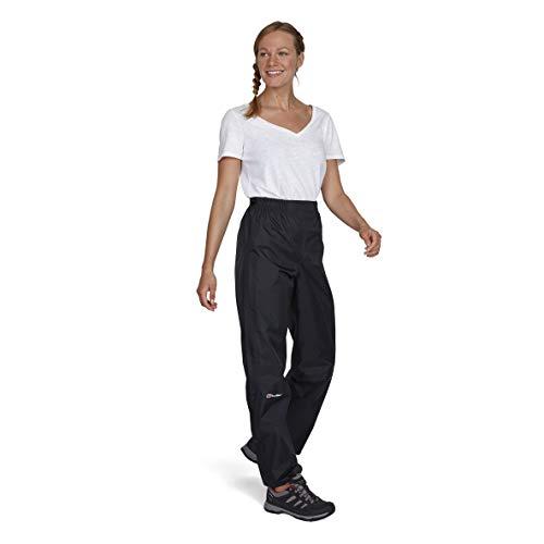 Berghaus Deluge Pantalon Imperméable Respirant Femme, Noir, FR : M (Taille Fabricant : 12 LNG)