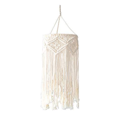 ALG Handgefertigter Makramee-Laternenschirm, böhmischer Deckenanhänger, hochwertiges Seil aus natürlicher Baumwolle, umweltfreundlicher runder Bambusrahmen