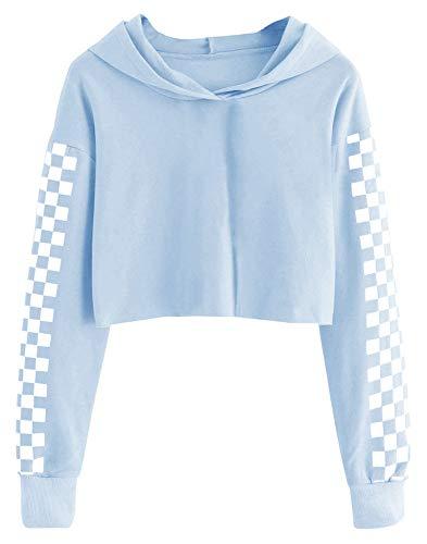 Imily Bela Kids Crop Tops Girls Hoodies Cute Plaid Long Sleeve Fashion Sweatshirts Light Blue