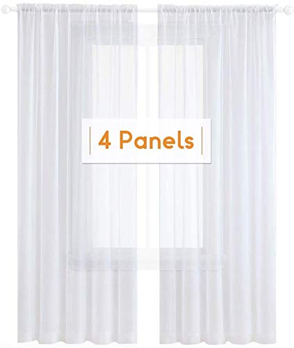 Anjee 4 Panels White Sheer Curtains 45 Inches Long, Rod Pocket Window Treatment Sheer Voile Gauze Curtains Drapes for Bedroom Living Room Kitchen 52 x 45 Inch