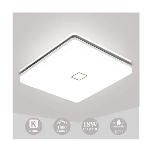 Plafon LED Techo, Öuesen Lámpara de Techo 18W 1800LM Plafón LED Blanco Natural 4000K, Lampara LED IP44 para Baño Dormitorio Cocina Balcón Pasillo Sala de Estar y Comedor