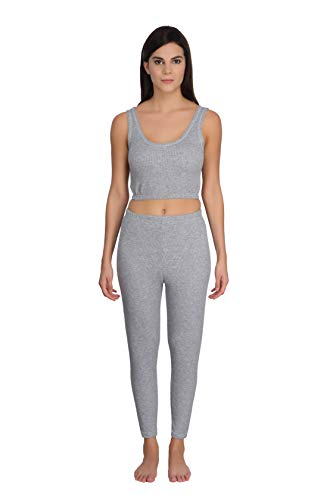 Selfcare Women's Cotton Blend Thermal Top and Pyjama Set (Pack of 1) (SW0244-M_Light Grey_Medium)