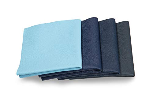 Recortes de cuero - restos de cuero azul, restos de cuero, tamaños grandes, ideal para bolsos, zapatos, reparaciones, decoraciones, manualidades, 0,6 kg, tamaño A1