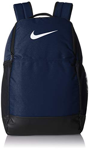 Nike Brasilia Medium Training Backpack, Nike Backpack for Women and Men with Secure Storage & Water Resistant Coating, Midnight Navy/Black/White