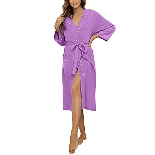 HEARTNICE Womens Cotton Robe Soft Kimono Spa Knit Bathrobe Lightweight Long (Violet, XL)