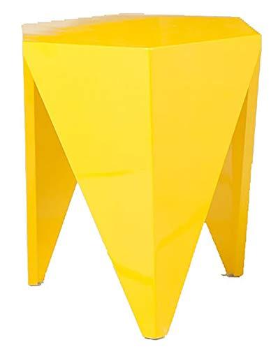 Verone Mobili Mesa Auxiliar Modelo Punta, Color Amarillo Multifuncional en Madera lacada Brillante.