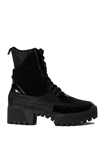 CAPE ROBBIN Cape Robbin Lace Up Lug Sole Chunky Heel Paneled Military Combat Boots-BLACK_8