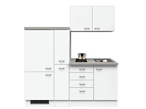 Smart Möbel Küchenzeile 190 cm Weiß mit 2-Zonen-Glaskeramik-Kochfeld, Kühlschrank und Spüle - Witus
