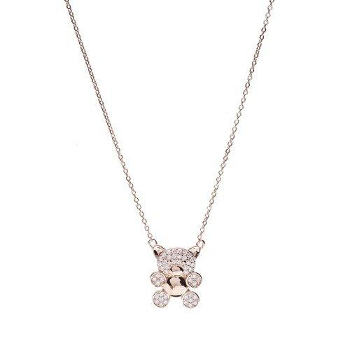 Sterling Silver CZ orso ciondolo collane–placcato oro 18ct