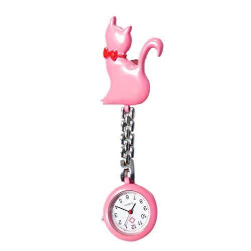 Reloj de cuarzo con diseño de gato de dibujos animados de moda de bolsillo con clip para colgar el doctor de las mujeres de la señora de la joyería colgante de plata