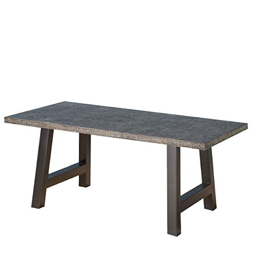 Christopher Knight Home Valencia Outdoor Lightweight Concrete Dining Table, Stone Finish Grey / Black