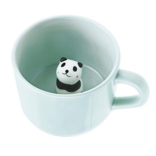 FakeFace Kreative Keramik Tasse mit Löffel 3D Tier Kaffeetasse Teetasse Kaffee Tee Funny Mug Cup Tasse Becher Coffee Mugs wunderbares Geschenk für Weihnachten/Geburtstag/Gedenktag-Panda