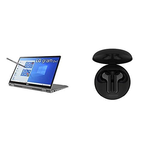 LG Gram 2-in-1 Convertible Laptop: 14' Full HD IPS Touchscreen Display, Intel 10th Gen Core i7-10510U CPU, 16GB RAM & LG Tone Free HBS-FN6 - True Wireless Bluetooth Earbuds - Black