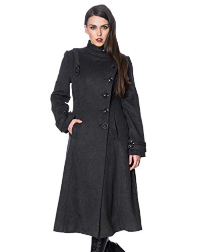 Banned Alternative Retro Coat Abrigo de Lana Gris L