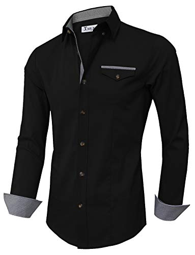 Tom's Ware Mens Inner Plaid Oxford Cotton Button Down Dress Shirts TWNEL565S-318S-CHARCOAL-US L