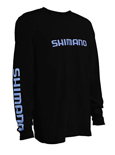 SHIMANO Camiseta de manga larga de algodón para pesca, S, Negro