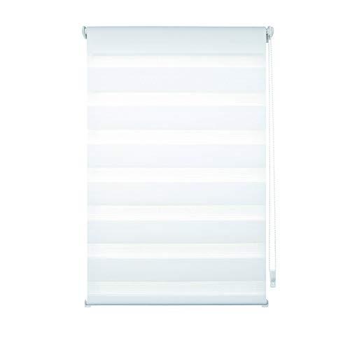 Liedeco® DUO Rollo Klemmfix - 60 x 160 cm weiß (Breite x Höhe) / transparent lichtdurchlässig blickdicht und stufenlos verstellbar / leichte Innen-Montage ohne Bohren mit Klemmträger / 123 montiert / Doppelrollo farbig zum Klemmen fürs Fenster in vielen Farben und Größen
