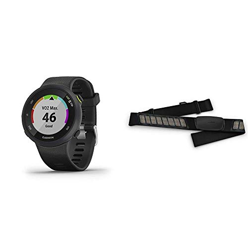 Garmin Forerunner 45, 42mm Easy-to-use GPS Running Watch with Coach Free Training Plan Support, Black Bundle with Garmin HRM-Dual Heart Rate Monitor